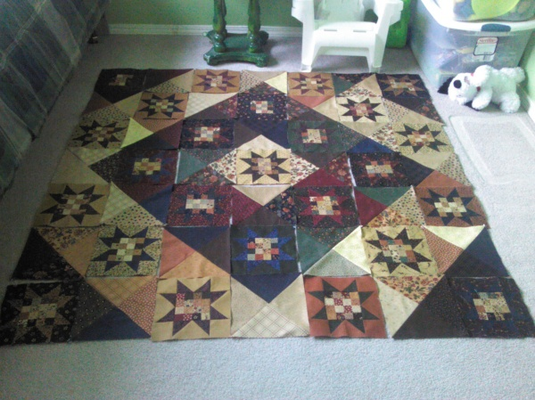 Notice the right corner.  Taking photos during the piecing process helped me arrange my blocks in the right order.