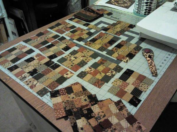 Let the piecing begin. I cut the charm pack into strips and made strip sets to piece the sixteen patches